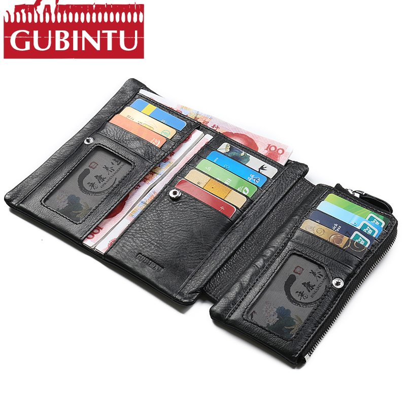 GUBINTU Men Wallet Clutch Genuine Leather Brand Wallet Large Capacity Male Organizer Cell Phone Clutch Bag Long Coin Purse Black w 298 stylish nylon cell phone bag change purse black