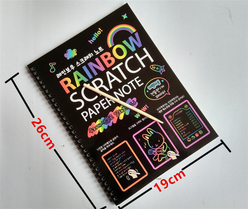 geekoplanet.com - 19*26cm Large Magic Rainbow Color Scratch Paper Note book
