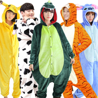 2017 Unicorn Pyjama Couple Stitch Giraffe Unisex Flannel Pajamas Adults Cosplay Cartoon Animal Onesies Sleepwear For