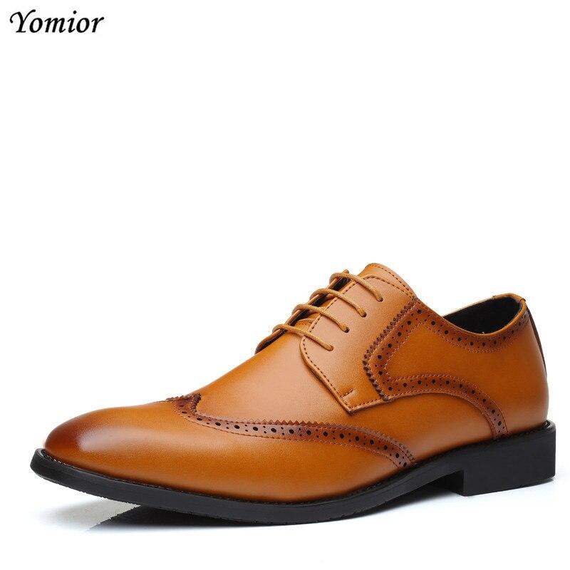 Luxe Hommes Cuir Mâle Bout Chaussures Grande marron Noir Partie Pointu Yomior Marque D'affaires Bureau Taille En De Mariage Décontractée Mode Robe wqBWxxEAYI