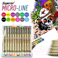 Bianyo 12 Color Needle Drawing Pen 0 45mm Fineliner Animation Design Drawing Graphic Fabric Art Marker