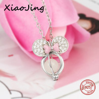 New arrival Mickey Mouse glowing charms pendant necklace 925 silver beads chain pandora jewelry making Valentine's Day gifts