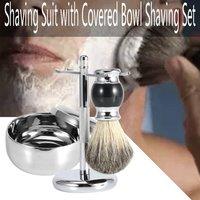 Ring Type Beard Care Set Soap Bowl With Lid Hanging Brush Facial Care Men's Shaving Tools Shaving 3 Sets
