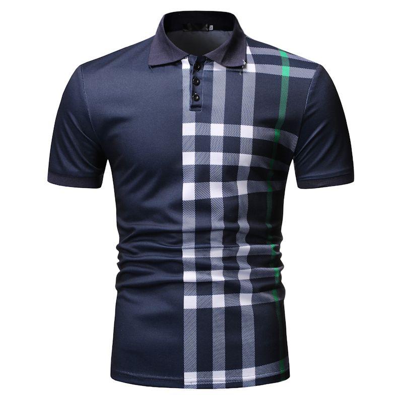Brand Casual Polo Men Slim Fit Plaid