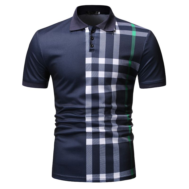 Drop Shipping 2019 Brand Casual Polo Men Slim Fit Plaid Short Sleeve Polo Shirt Men Fashion Streetwear