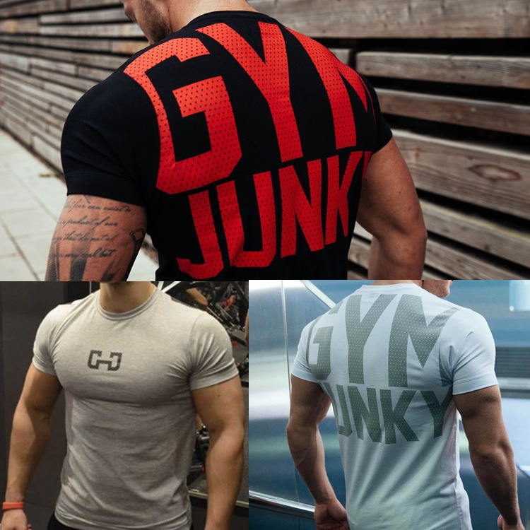 Men's Fashion T Shirt Men Crossfit Tops Summer Fitness Bodybuilding Clothes Muscle Male Shirts Cotton Slim Fit Tees