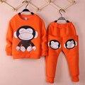 2-6yrs ocasional dos desenhos animados do bebê menino conjunto de roupas de lã camisola + harem pants 2 pcs roupas das meninas set outono inverno calorosamente crianças sets