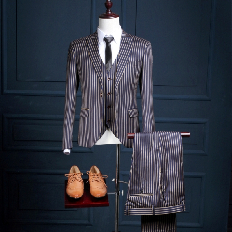 NA26 Design Blue With White Stripe Stage Performance Formal Male Slim Fit Custom Made Tuxedo Costume 3 Piece Jacket Vest Pants