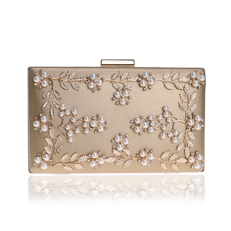 2018 New Woman Evening Bag Gold Glittered Pearl Flower Clutch bags Wallet Wedding Purse Evening Bag With Chain Shoulder Handbags