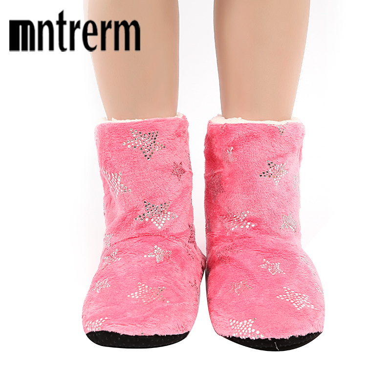 Mntrerm 2018 New Winter Warm Long tube Women Home Slippers Star Pattern Soft Bottom Indoor Shoes Casual Plush Slippers 6 Color soft plush big feet pattern novelty slippers