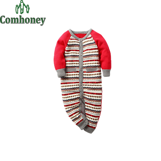 674ed2cce60 Infant Romper Baby Snowsuit Striped Jacquard Knitting Coveralls Winter  Rompers Children Winter Jumpsuit One-Piece Suits