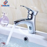 SOGNARE MINI Stylish Elegant Bathroom Basin Faucet Brass Vessel Sink Water Tap Mixer Chrome Finish Cold