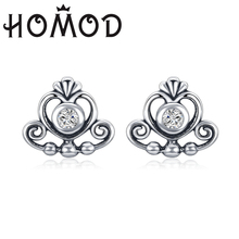 HOMOD 2019 Hot Sell Silver Princess Clear CZ Heart Crown Brand Stud Earrings for Women Wedding Fine Jewelry