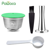 Stainless Steel Refillable Reusable Coffee Filling Capsule Pods Filter Coffee Powder Press Set for Dolce gusto Coffee Machines