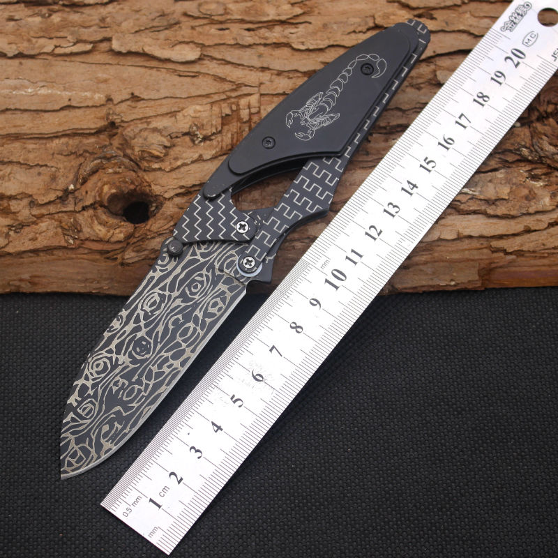 Scorpion Survival font b Knife b font 5CR13Mov Steel Blade Steel Handle Pocket Folding Knifes Hunting
