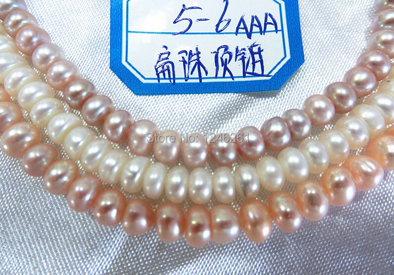 Nice Gift AAA 5-6mm Flat Freshwater Shell Pearls Loose Beads Jewelry Making Semi-finished Necklace Natural Stone Wholesale Price(China (Mainland))