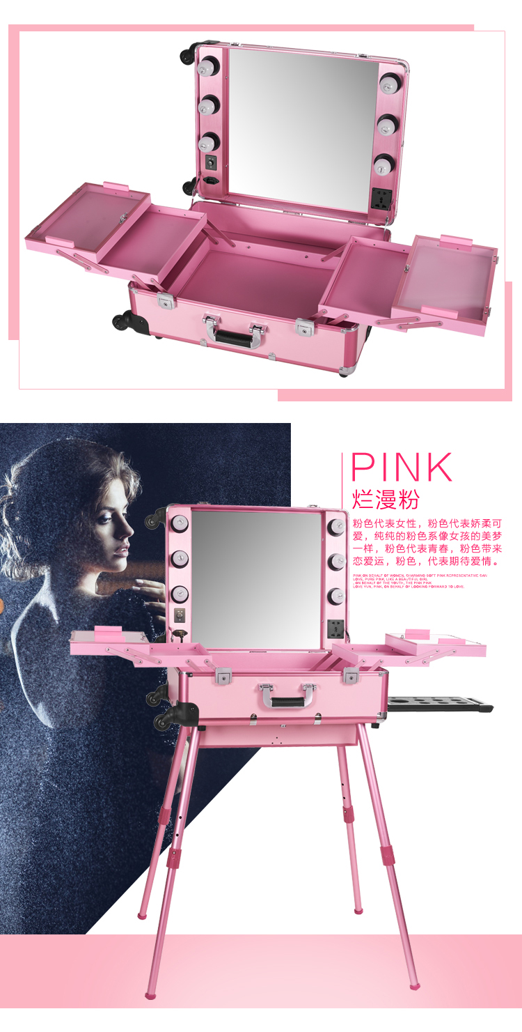 Pink Led Yellow Light Rolling Studio Makeup Artist