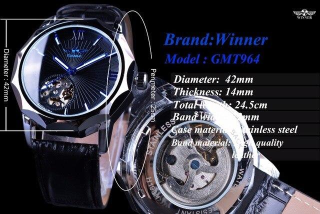 Мужские часы Winner синий океан 3