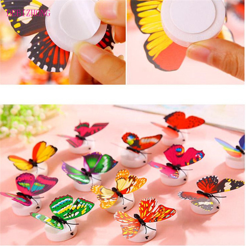 1 PC Led butterfly wall sticker party wedding home night light 3D butterfly luminous stickers colorful Free Shipping 4B07