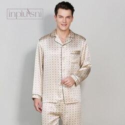 Inplusni A due pezzi pigiama di seta in primavera in autunno e in inverno di Estate degli uomini a maniche lunghe pantaloni grandi cantieri homewear