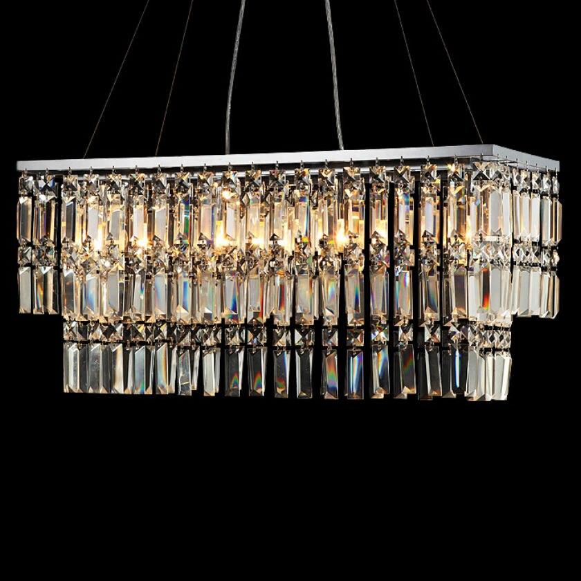 Modern K9 Luxury Crystal Chandeliers Led E14 Light Base Kitchen Luster Pendant Lamp Rectangular Crystal Stainless