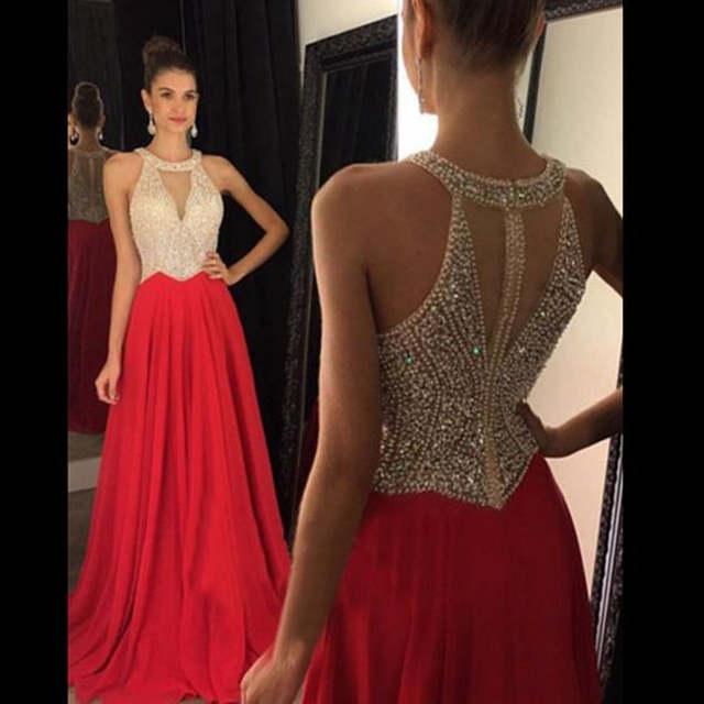 5139930acfb41 Vestidos de Fiesta 2016 Long Evening Dresses Red Chifon A line Formal Long  Dress Halter Off