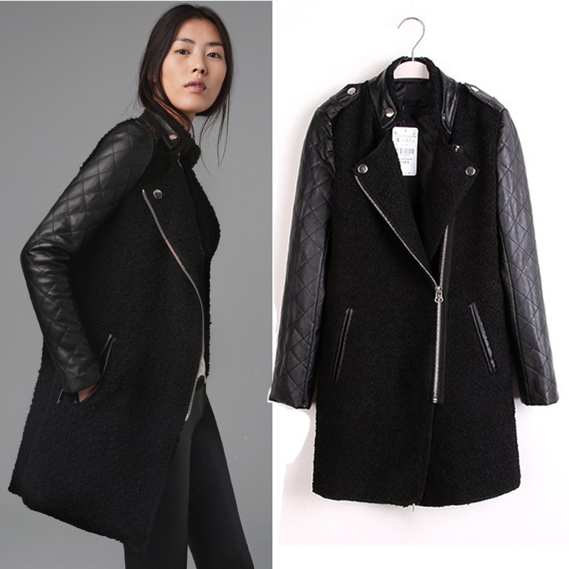d8df33d7 2014 new winter ZARA quilting circle stitching leather sleeve wool coat  wool woolen jacket collar badges woman