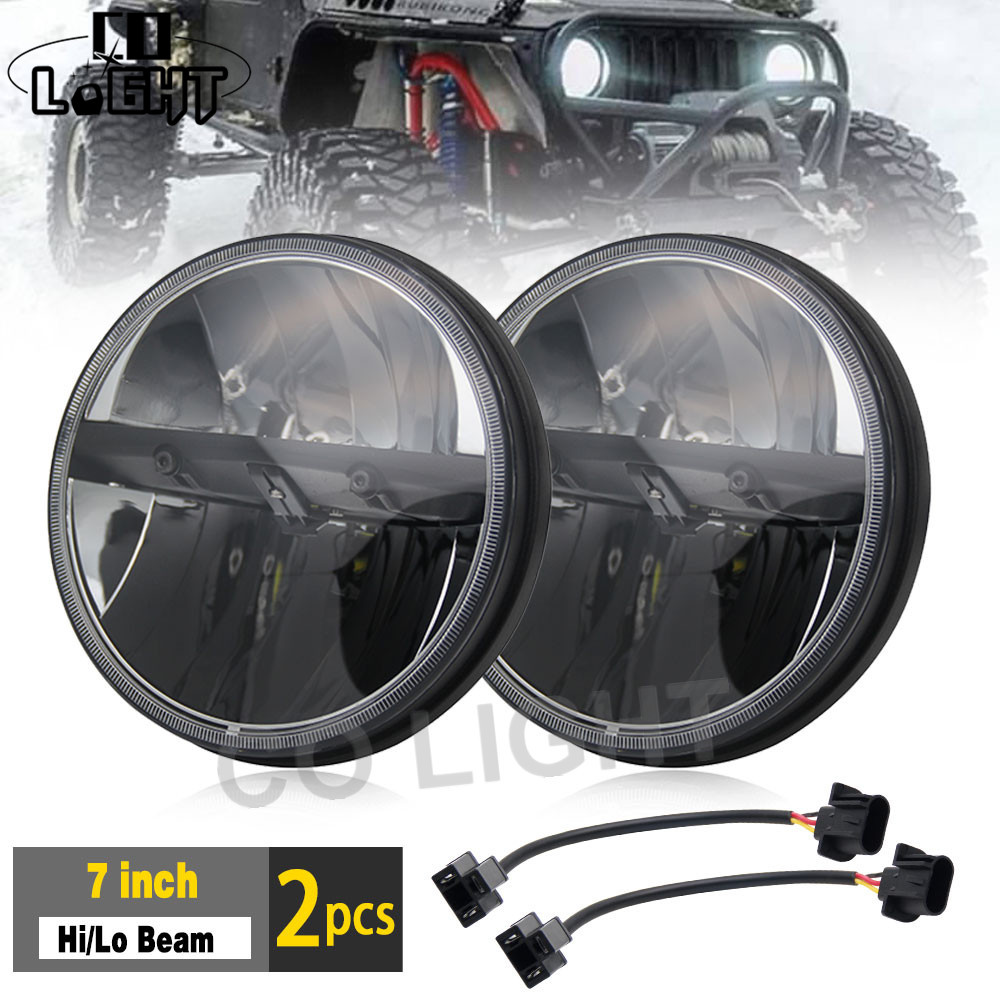 hight resolution of co light 7 inch 80w led headlight hi lo 12v fog light drl auto defender combo headlight driving light wiring upgrade kit is 199
