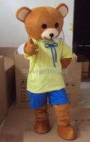 High quality New Ribbon Yellow Teddy Bear Mascot Costume