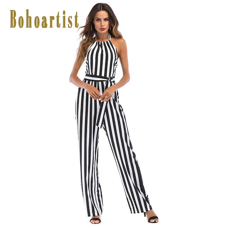 Bohoartist Womens Black Striped Jumpsuit Long Sleeveless Halter Romper Belts Sexy Lady Summer Backless Office Casual Jumpsuits