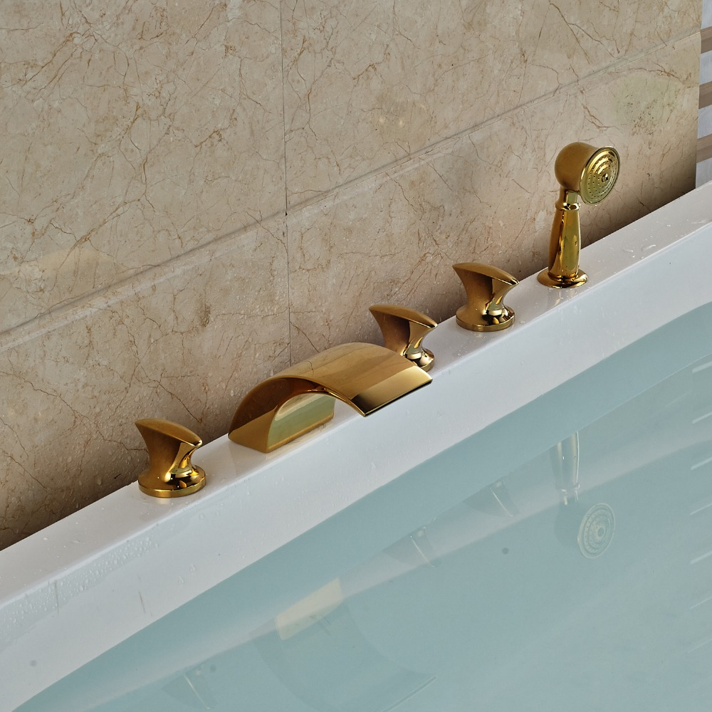 Deck Mounted Bathtub Faucet Widespread 5pcs Mixer Tap With Hand Shower Gold Finished deck mounted 5pcs widespread bathroom tub faucet with hand shower nickel brushed finished