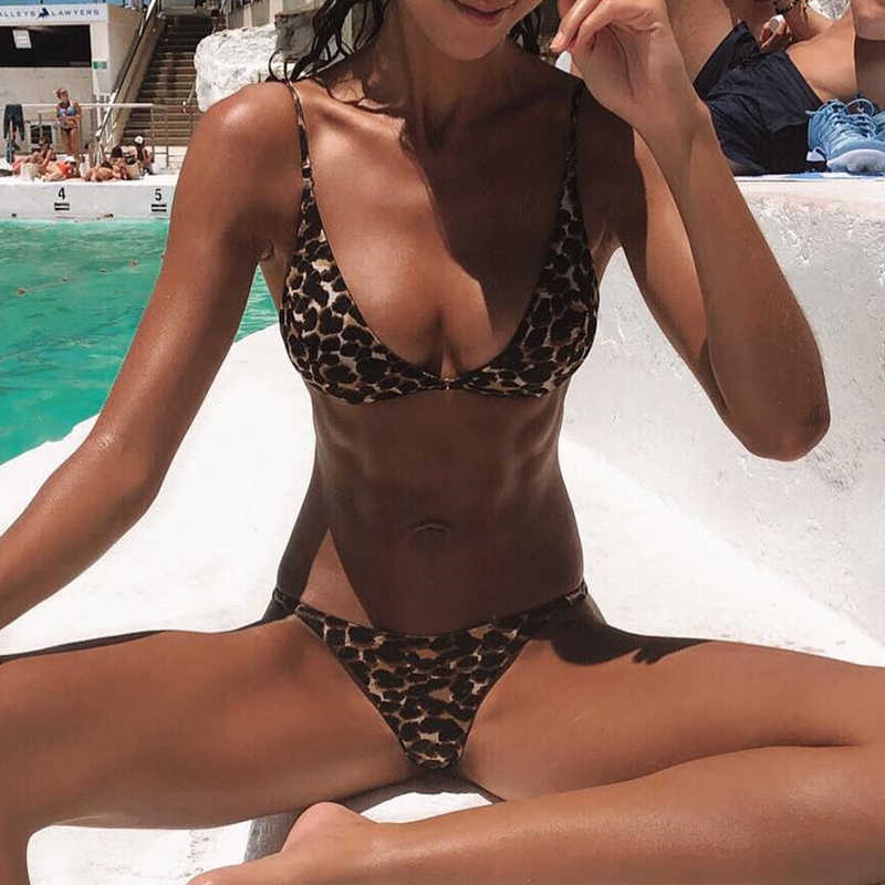f7a09297426 ... Bikinx Triangle string sexy swimwear women micro bathing suit Push up  leopard print swimsuit female Brazilian ...
