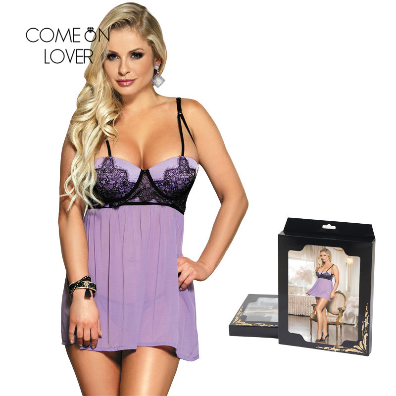 Comeonlover Plus Size Home Dress Sexy Lingerie Strappy   Nightgowns   Summer Lace Decorated Women   Sleepshirt   With Padded Bra RT80072