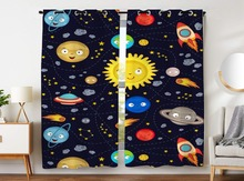 Blackout Curtains 2 Panels Grommet for Bedroom Interesting Outer Space Solar System Smiling Planet Sun