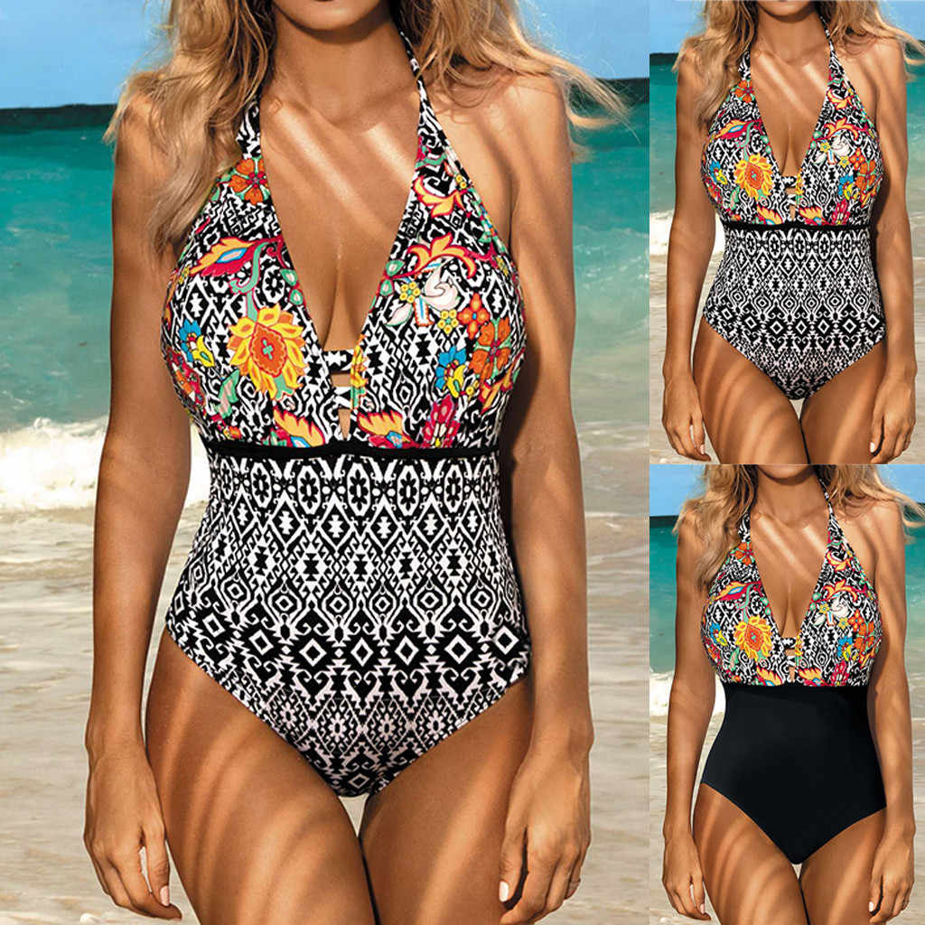 Women Summer Backless Sexy Print Swimwear Beachwear Siamese Swimsuit Bikini High-quality polyester fabric breathable new 605