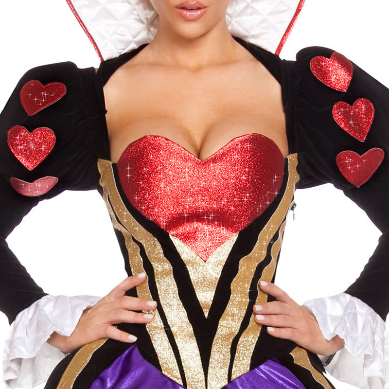 2017 Glamorous Women Exquisite Sultry Heartless Queen Costume Lace Top with Heart Applique and Collar Detail Flared Skirt LC8959