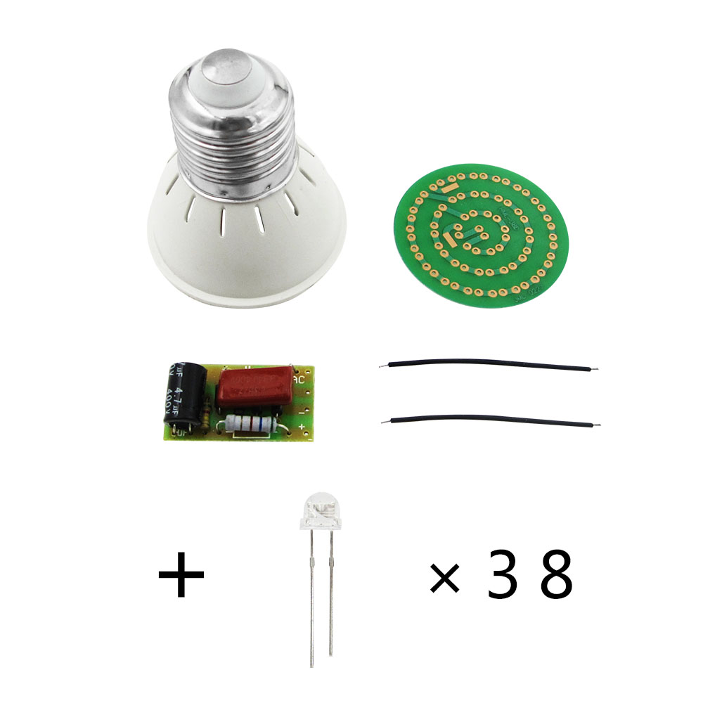 1 Set New Energy-Saving 38 LEDs Lamps DIY Kits Electronic Suite leds c4 suite 05 0380 bw b8