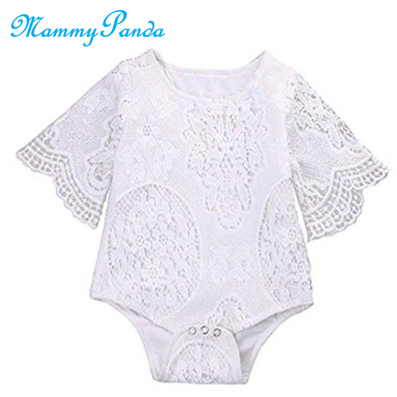 2019 Cute Newborn Baby Bodysuit For Baby Girl Onesie Bodysuit Baby Long Sleeves Lace Flower Summer Newborn White Onesie