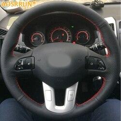 AOSRRUN سيارة-التصميم الجلود اليد مخيط عجلة توجيه سيارة يغطي لكيا سبورتاج 3th 2011-2014 كيا سيد (Kia Ceed) 2010 اكسسوارات السيارات