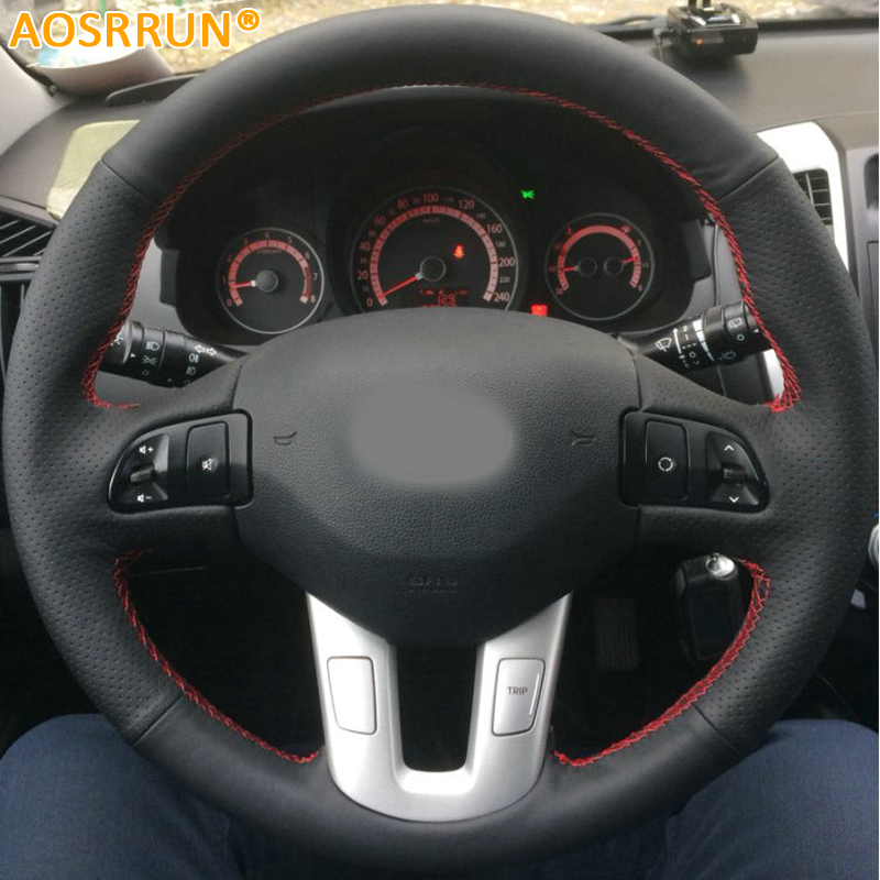 AOSRRUN Car-styling Leather Hand-stitched Car Steering Wheel Covers For Kia Sportage 3th 2011-2014 Kia Ceed 2010 Car accessories