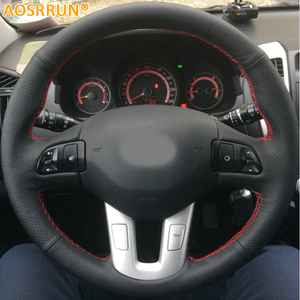 Car-styling Leather Hand-stitched Car Steering Wheel Covers For Kia Sportage 3 SL 2011-2014 Kia Ceed 2010 Car accessories(China)