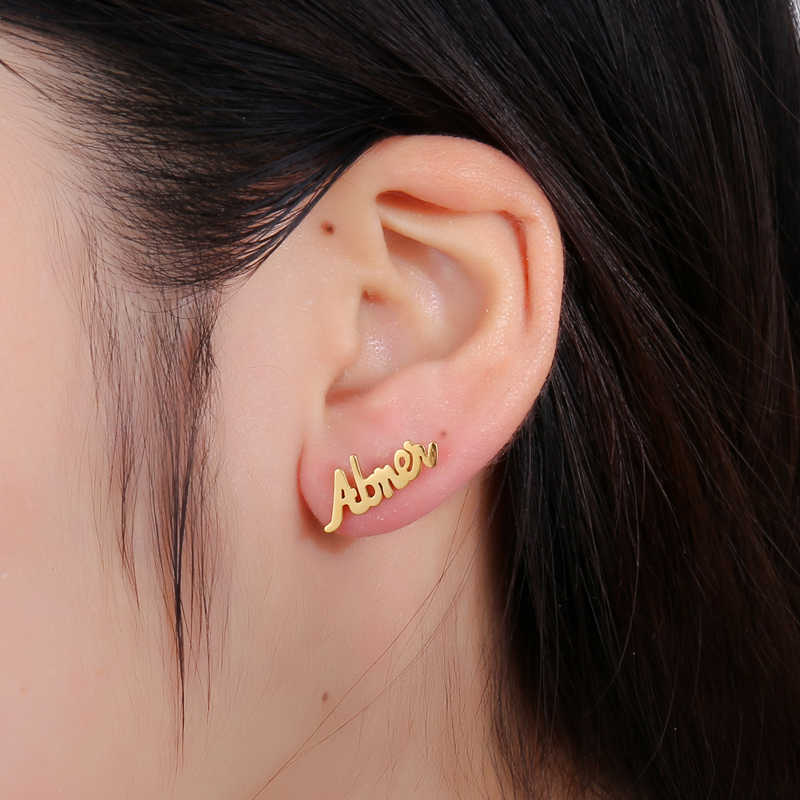 Personalized Custom Name Earrings Customize Initial Cursive Nameplate Stud Earring for Women Jewelry