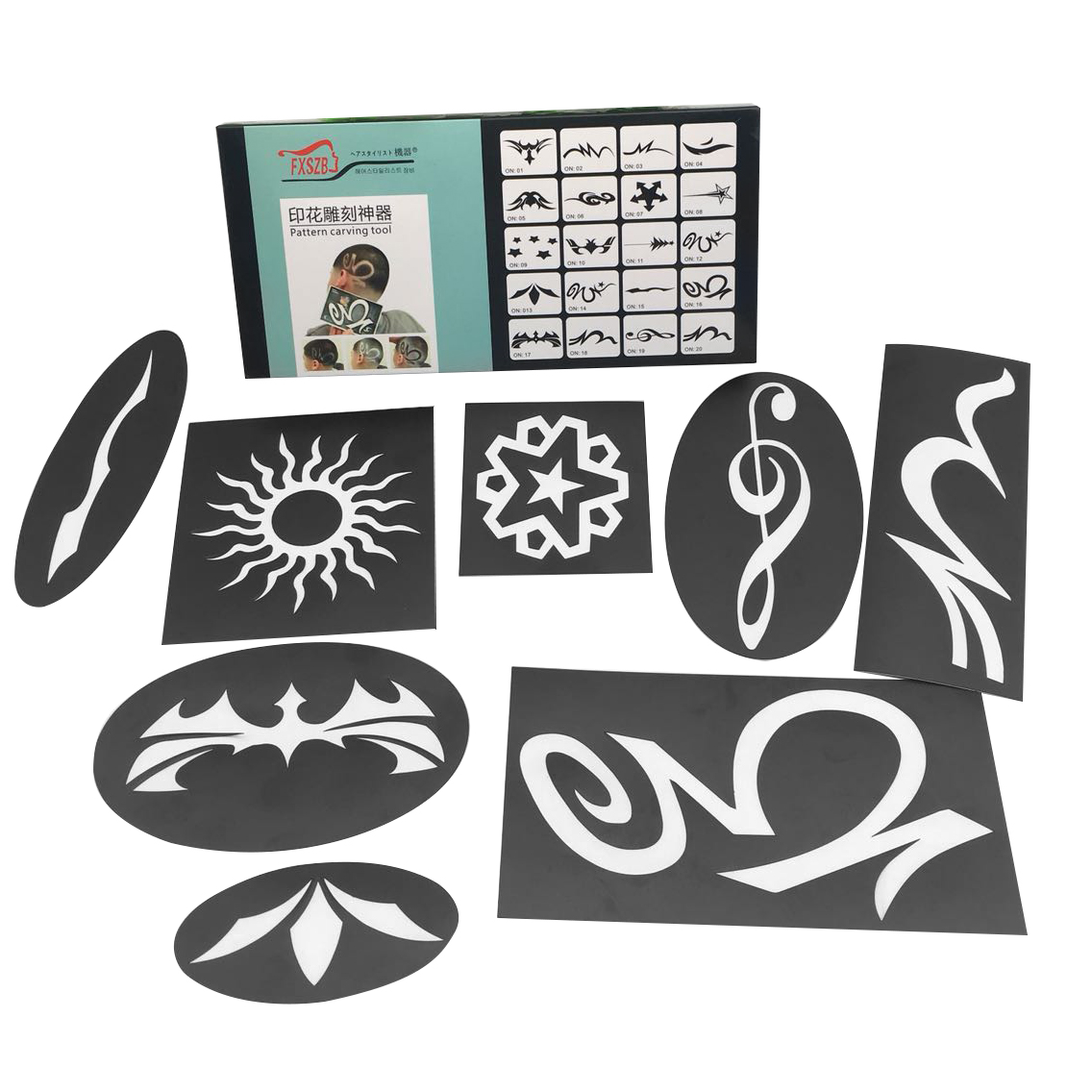 20pcs/set Hair Tattooing Template Engraving Hair Trimmer Carved Coloring Pattern Stencil Dye Coating Board Salon DIY Hairstyling