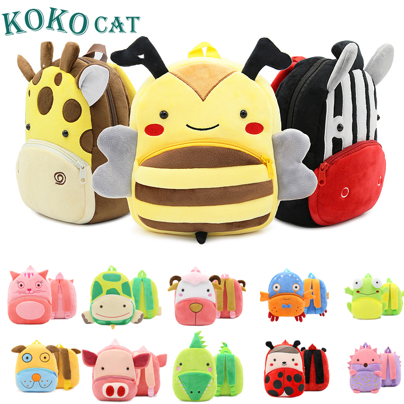 Kokocat Mini Kindergarten Schoolbag Cartoon Kid Plush Backpack Plush Animal Backpack Children School Bag Girl Boy Backpack