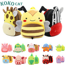 KOKOCAT 2018 Mini Kindergarten schoolbag Cartoon Kid Plush Backpack Plush Animal Backpack Children School Bag Girl Boy Backpack(China)