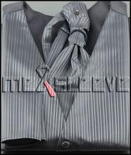 new arrive Men's silver stripe waistcoat Set for Suit or Tuxedo (vest+ascot tie+cufflinks+handkerchief)