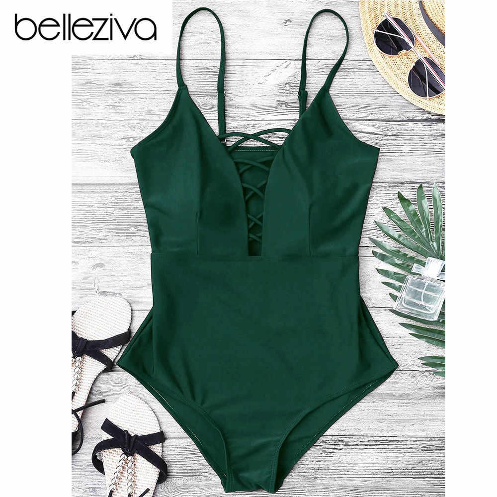 9f05adcbc20 Belleziva Women Sexy Crisscross Plunge One Piece Swimwear Backless Monokini  Swimsuit Bandage Bathing Suits Beachwear Swim
