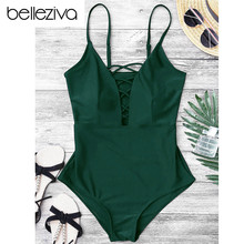 d41b759e947 Belleziva Women Sexy Crisscross Plunge One Piece Swimwear Backless Monokini  Swimsuit Bandage Bathing Suits Beachwear Swim