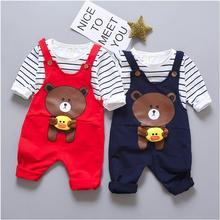 ZWXLHH/Лидер продаж, одежда для малышей, костюмы, комплекты одежды для маленьких девочек и мальчиков, футболка в полоску + штаны с медведем, Детский костюм