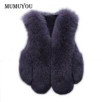 النساء فو الثعلب الفراء صدرية سترة الشتاء الدافئة أكمام قصيرة رقيق معطف جيليه أبلى 200-A440
